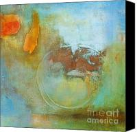 Decorating Mixed Media Canvas Prints - Around the World Abstract Art Canvas Print by Anahi DeCanio