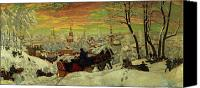 Setting Painting Canvas Prints - Arriving for the Holidays Canvas Print by Boris Mihajlovic Kustodiev