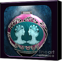 Rosy Hall Digital Art Canvas Prints - Art Deco Twins Canvas Print by Rosy Hall