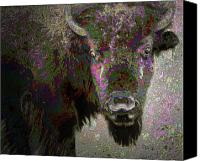 Buffalo Mixed Media Canvas Prints - Art Neuvo Bison Canvas Print by Irma BACKELANT