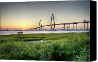 Ravenel Bridge Canvas Prints - Arthur Ravenel Bridge Sunset Canvas Print by Dustin K Ryan