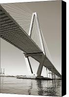 Ravenel Bridge Canvas Prints - Arthur Ravenel Jr Bridge Charleston SC Cooper River Canvas Print by Dustin K Ryan