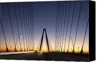 Ravenel Bridge Canvas Prints - Arthur Ravenel Jr Bridge Sunrise Canvas Print by Dustin K Ryan