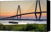 Ravenel Bridge Canvas Prints - Arthur Ravenel JR. Bridge Sunset Canvas Print by Dustin K Ryan