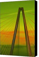 Lime Canvas Prints - Arthur Ravenel Jr Bridge V Canvas Print by DigiArt Diaries by Vicky Browning