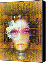 Artificial Intelligence Canvas Prints - Artificial Intelligence: Face And Circuit Board Canvas Print by Mehau Kulyk