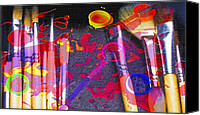 Drips Mixed Media Canvas Prints - Artist Brushes - Paint Mess  Canvas Print by Steve Ohlsen