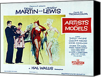 1955 Movies Canvas Prints - Artists And Models, Dean Martin, Jerry Canvas Print by Everett