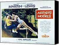1955 Movies Canvas Prints - Artists And Models, Jerry Lewis Canvas Print by Everett