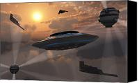 Paranormal  Digital Art Canvas Prints - Artists Concept Of Alien Stealth Canvas Print by Mark Stevenson