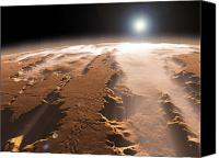 Canyon Craters Canvas Prints - Artists Concept Of The Valles Marineris Canvas Print by Walter Myers