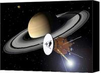 Space Art Drawings Canvas Prints - Artwork Of Cassini Approaching Saturn Canvas Print by Nasa