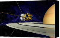 Space Art Drawings Canvas Prints - Artwork Of Cassini During Soi Maneuver Canvas Print by Nasa