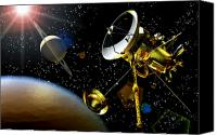 Space Art Drawings Canvas Prints - Artwork Of Huygens Probe Approaching Canvas Print by Nasa