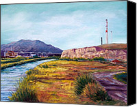 Mountains Pastels Canvas Prints - Asarco and the River Canvas Print by Candy Mayer