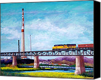 Bridge Pastels Canvas Prints - Asarco and the RR Bridge Canvas Print by Candy Mayer