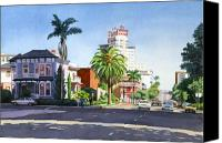 Architecture Painting Canvas Prints - Ash and Second Avenue in San Diego Canvas Print by Mary Helmreich