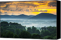 Foggy Canvas Prints - Asheville NC Blue Ridge Mountains Sunset - Welcome to Asheville Canvas Print by Dave Allen