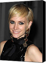 Gold Earrings Photo Canvas Prints - Ashlee Simpson Wearing Vintage Chanel Canvas Print by Everett