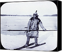 1890s Portrait Canvas Prints - Asia, Goldi Hunter On Skis On Ice Canvas Print by Everett