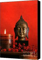 Still Life Sculpture Photo Canvas Prints - Asian theme with candle  Canvas Print by Sandra Cunningham