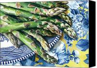 Kitchen Art Canvas Prints - Asparagus Canvas Print by Nadi Spencer