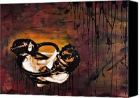Wood Mixed Media Canvas Prints - Asphyxiation by Oil Dependency Canvas Print by Iosua Tai Taeoalii