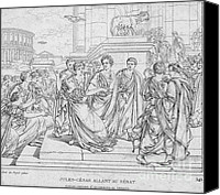 Brutus Canvas Prints - Assassination Of Julius Caesar, 44 Bc Canvas Print by Science Source
