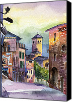 Assisi Canvas Prints - Assisi Street Scene Canvas Print by Lydia Irving
