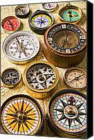 Hiking Canvas Prints - Assorted compasses Canvas Print by Garry Gay