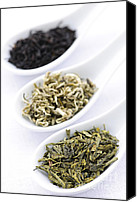 Spoon Canvas Prints - Assortment of dry tea leaves in spoons Canvas Print by Elena Elisseeva
