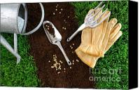 Turf Canvas Prints - Assortment of garden tools on earth Canvas Print by Sandra Cunningham