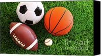  Goal Canvas Prints - Assortment of sport balls on grass Canvas Print by Sandra Cunningham