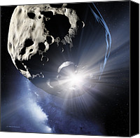 Kinetic Canvas Prints - Asteroid Deflection, Impact Flash Canvas Print by Detlev Van Ravenswaay