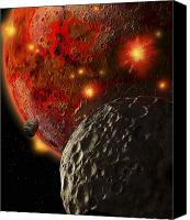 Judgment Day Canvas Prints - Asteroid Impacts On The Early Earth Canvas Print by Ron Miller