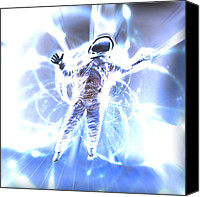 Light Suit Photo Canvas Prints - Astronaut In A Space Warp Canvas Print by Coneyl Jay