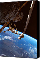Challenge Canvas Prints - Astronauts Working On A Satellite In Space Canvas Print by Stockbyte