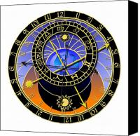 Prague Digital Art Canvas Prints - Astronomical Clock Canvas Print by Michal Boubin