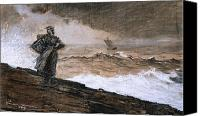 Overcast Painting Canvas Prints - At High Sea Canvas Print by Winslow Homer