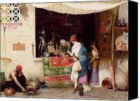 Orientalist Canvas Prints - At the Antiquarian Canvas Print by Vitorio Capobianchi