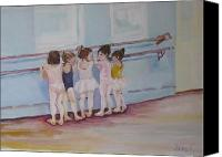 Little Girls Canvas Prints - At the Barre Canvas Print by Julie Todd-Cundiff