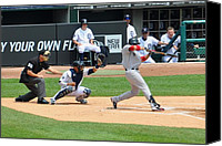 Mlb Canvas Prints - At the Bat Canvas Print by Fred Zilch