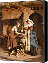Pouring Painting Canvas Prints - At the Dairy Canvas Print by Theodore Gerard