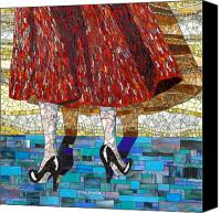Mosaic Glass Art Canvas Prints - At the Dance Canvas Print by Barbara Benson Keith