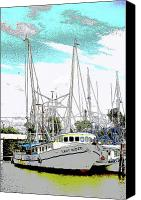 Unique Art Drawings Canvas Prints - At the Dock Canvas Print by Barry Jones