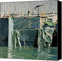 Sausalito Painting Canvas Prints - At The Docks 1 Canvas Print by Andrew Drozdowicz