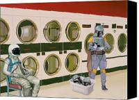 All-star Painting Canvas Prints - At the Laundromat with Boba Fett Canvas Print by Scott Listfield