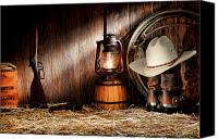 Oil Lamp Canvas Prints - At the Old Ranch Canvas Print by Olivier Le Queinec