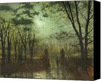 Manor Painting Canvas Prints - At the Park Gate Canvas Print by John Atkinson Grimshaw