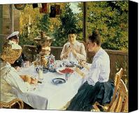 Dine Canvas Prints - At the Tea-Table Canvas Print by Konstantin Alekseevich Korovin